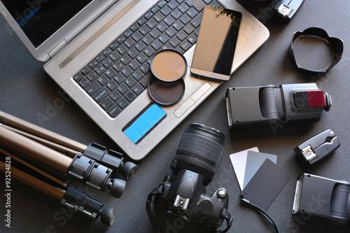 Fototapeta desktop with photography equipment