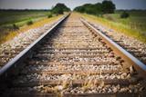 Fototapety Railway, Railroad, Train Tracks, Green Pasture, Selective Focus