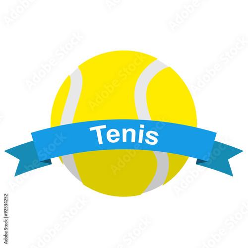 Fototapeta Icono plano cinta texto Tenis con pelota color azul