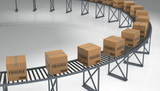 Boxes on a Conveyer Belt.