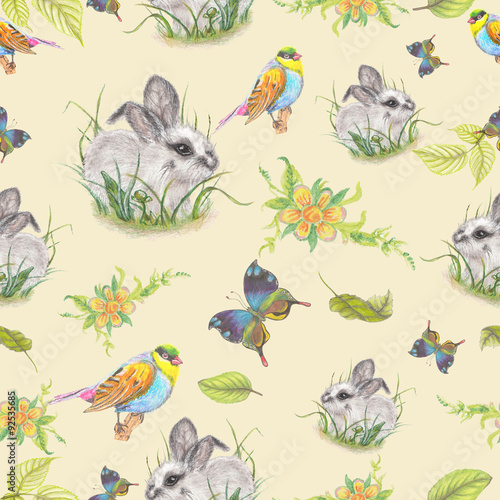 Fototapeta Vintage pattern with cute bunny