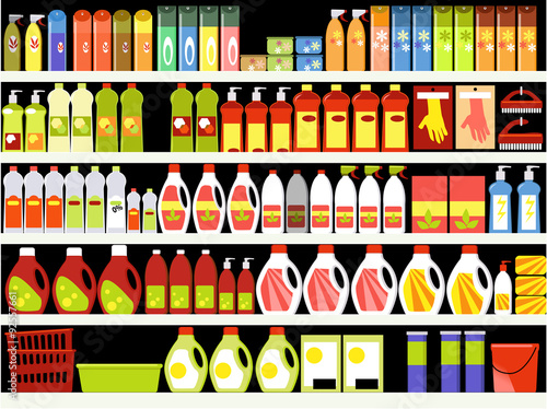 Household supplies aisle in the supermarket, shelves filled with cleaning products, ESP 8 vector illustration