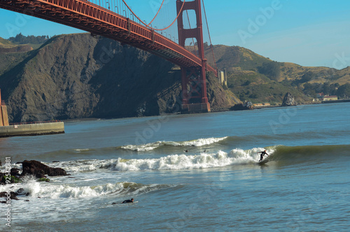 Plakát, Obraz Surf The Golden Bridge