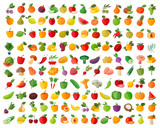 Fototapety fruit and vegetables color icons set