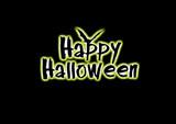Happy Halloween leuchtender Text mit Fledermaus