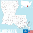 A large and detailed map of the State of Louisiana with all counties and county seats.