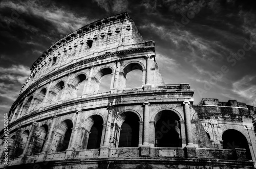 Poster Tunesië Colosseum in Rome, Italy. Amphitheatre in black and white
