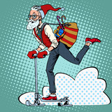 Fototapety Hipster Santa Claus spreads the Christmas gifts on a scooter sle