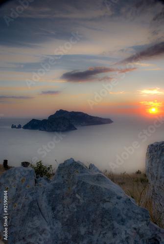 Panel Szklany colori pastello nel tramonto a Capri