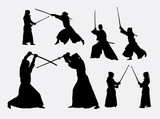 Fototapety Kendo japanese sport silhouettes. Good use for symbol, logo, web icon, mascot, or any design you want. Easy to use.