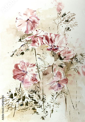 Plakat Stylized aquarelle drawing of Cosmos flowers