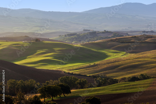 Tuscany landscape at sunrise Plakat