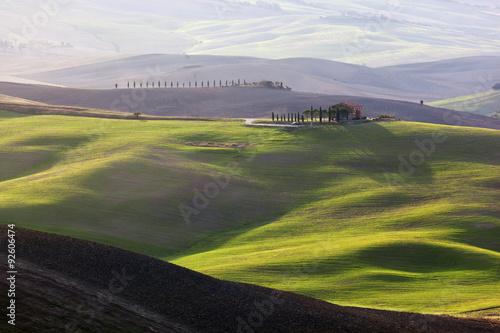 Tuscany landscape at sunrise Billede på lærred