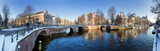 Beautiful winter panorama of the Unesco world heritage city canals of Amsterdam, The Netherlands. - Fine Art prints
