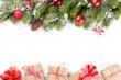 Obrazy na płótnie, fototapety, zdjęcia, fotoobrazy drukowane : Christmas tree branch with gift boxes