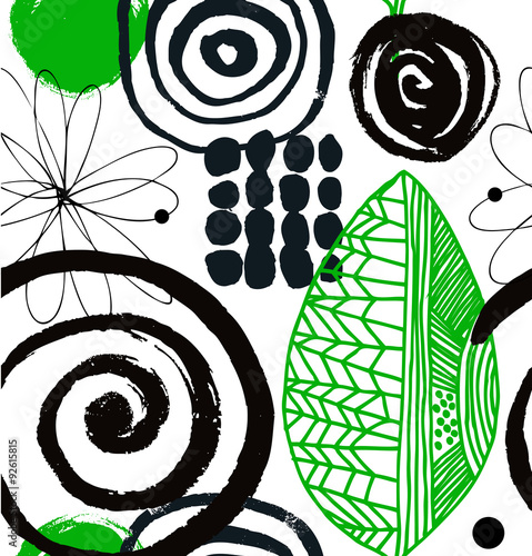 Vector drawing pattern with decorative ink drawn elements. Grunge abstract background © silmen