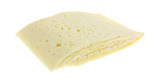 Slices of Havarti cheese on a white background
