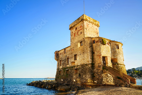 Deurstickers Liguria Rapallo, the medieval castle on the sea. Genoa, Ligury, Italy
