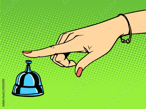 Obraz na Plexi Call the Concierge woman hand bell