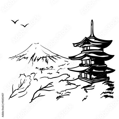 Naklejka landscape with Fuji mount, sakura tree and Japan pagoda illustration