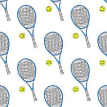 Tennisschläger und Bälle. Nahtlose Aquarell Muster mit