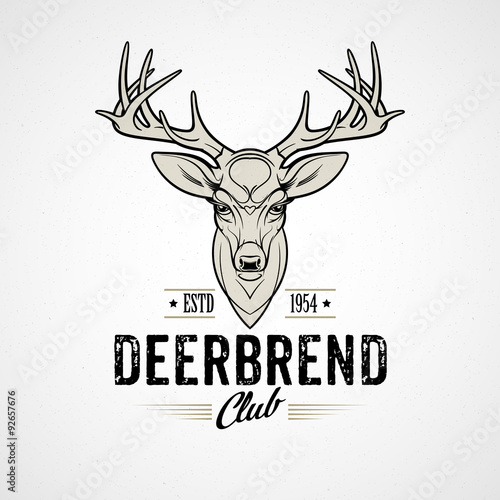 Deer head Design Element in Vintage Style. Vector illustration. © vik_y