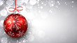 Silver christmas background with red ball.