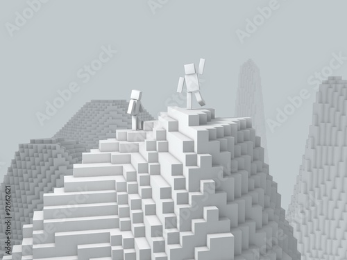 3d cubic character on top of mountain.