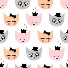 Jednolite wzór z zabawnymi dziewczęcych kotów z kapelusz, korona, łuk dla dzieci wakacje na białym tle. Cute cartoon kotek ilustracji wektorowych tle.