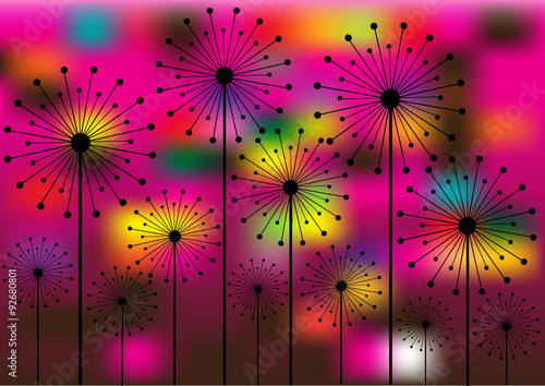 Naklejka abstract vector background with dandelions silhouettes