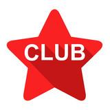 Icono plano estrella texto CLUB sombra rojo