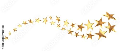 Fototapeta Flying golden stars on white background