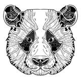Panda head doodle on white background.