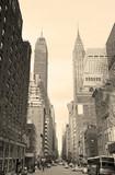Fototapety New York City Manhattan street view black and white