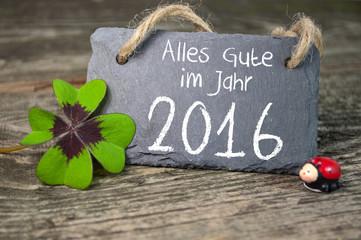 Tafel, Kreidetafel mit Klee und Marienkäfer 2016