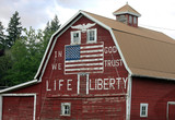Patriotic Red Barn with Painted American Flag - 92738819