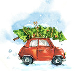 Fototapety Watercolor greeting card with red retro car