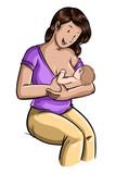 ilustración de mujer dando el pecho sentada a su bebe recién nacido sobre fondo blanco