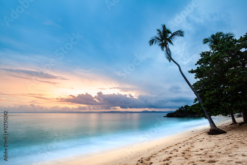 Exotic seascape with a palm tree leaning above the Caribbean sea at sunset, in C Poster