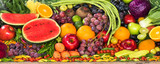 Large group of tropical fresh fruits and vegetables organic for healthy