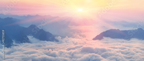 Dawn above the sea of fog