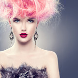 Fototapety High fashion model girl with updo hairstyle and stylish makeup