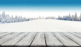 Fototapety Winter snowy background with wooden planks