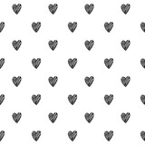 Hearts scribble sketch pattern background.