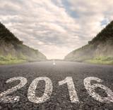Fototapety year 2016 painted on asphalt road