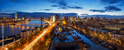 Foto op Plexiglas Rotterdam Beautiful aerial view of the skyline of Rotterdam, the Netherlands, at twilight