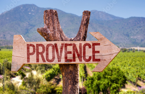 Poster Provence wooden sign with winery background