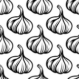 Garlic vegetables colorless seamless pattern poster