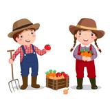 Fototapety Illustration of profession's costume of farmer for kids
