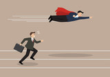 Businessman superhero fly pass his competitor